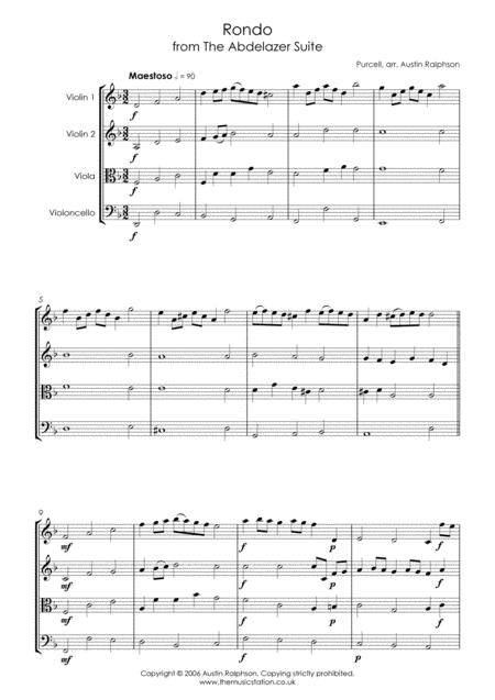rondo from the abdelazer suite string quartet sheet music pdf download -  sheetmusicdbs.com  download sheet music and notes in pdf format