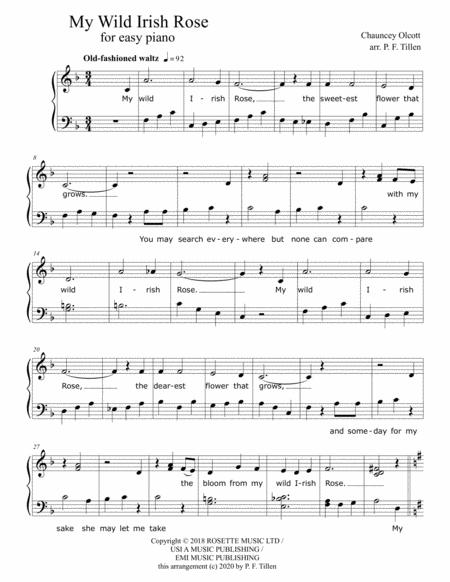 my wild irish rose for easy piano sheet music pdf download -  sheetmusicdbs.com  download sheet music and notes in pdf format