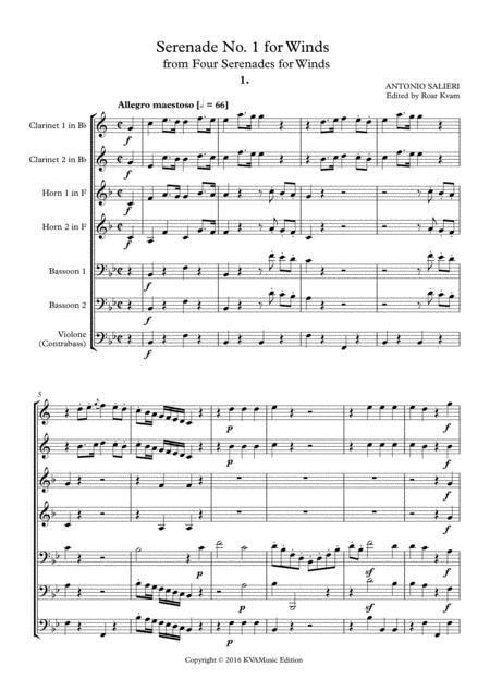 salieri serenade no 1 for winds 2 cl 2 hrn 2 bsn c bass sheet music pdf  download - sheetmusicdbs.com  download sheet music and notes in pdf format