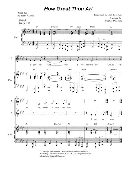how great thou art duet for soprano and alto solo piano accompaniment sheet  music pdf download - sheetmusicdbs.com  download sheet music and notes in pdf format