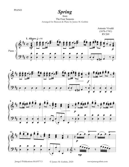 vivaldi spring from the four seasons for bassoon piano sheet music pdf  download - sheetmusicdbs.com  download sheet music and notes in pdf format