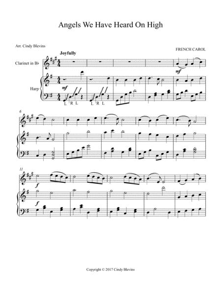 angels we have heard on high arranged for harp and bb clarinet sheet music  pdf download - sheetmusicdbs.com  download sheet music and notes in pdf format