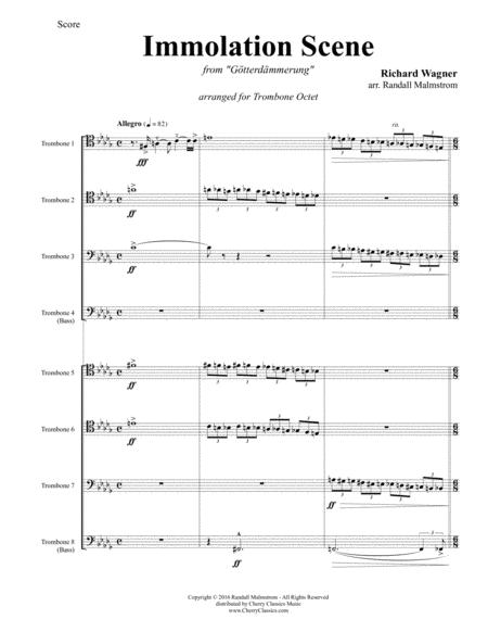 wagner immolation scene from gtterdmmerung for 8 part trombone ensemble  sheet music pdf download - sheetmusicdbs.com  download sheet music and notes in pdf format