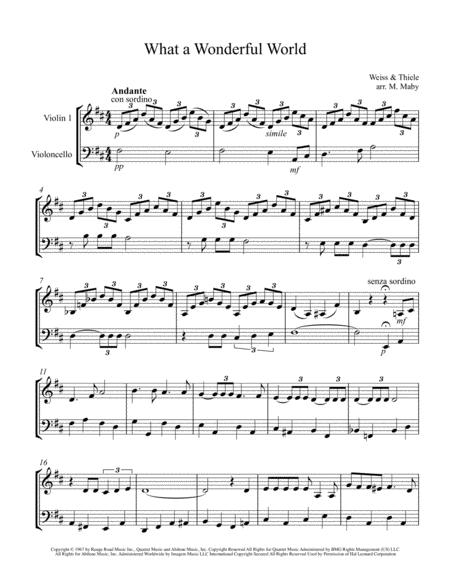 what a wonderful world for violin cello duet sheet music pdf download -  sheetmusicdbs.com  download sheet music and notes in pdf format