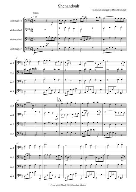 shenandoah for cello quartet sheet music pdf download - sheetmusicdbs.com  download sheet music and notes in pdf format