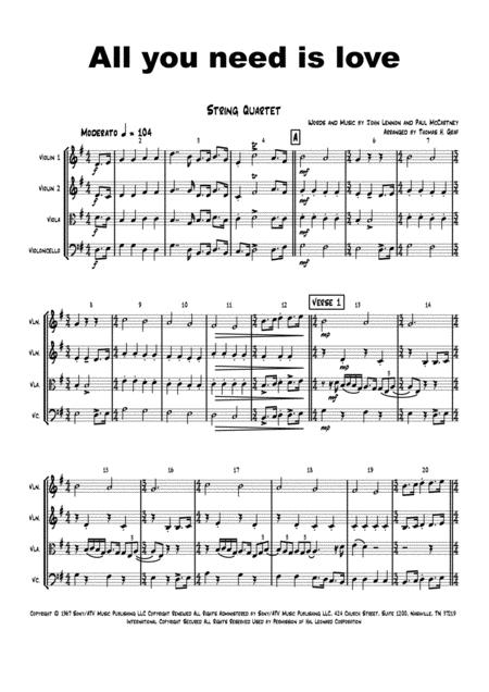 all you need is love beatles string quartet sheet music pdf download -  sheetmusicdbs.com  download sheet music and notes in pdf format