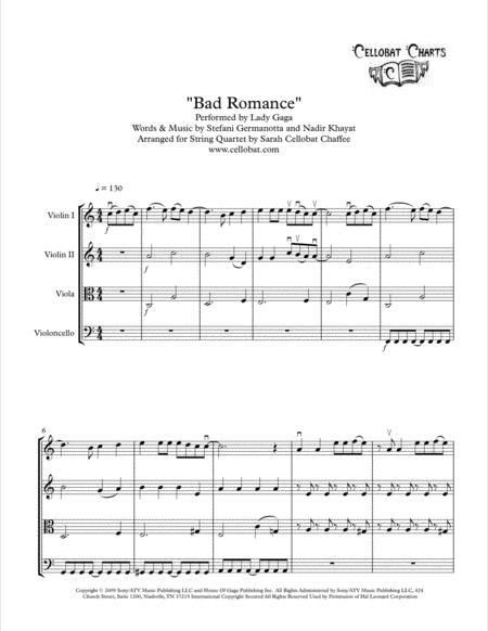 bad romance string quartet lady gaga arr cellobat sheet music pdf download  - sheetmusicdbs.com  download sheet music and notes in pdf format