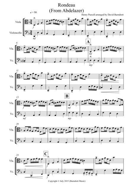 rondeau from abdelazer for viola and cello duet sheet music pdf download -  sheetmusicdbs.com  download sheet music and notes in pdf format