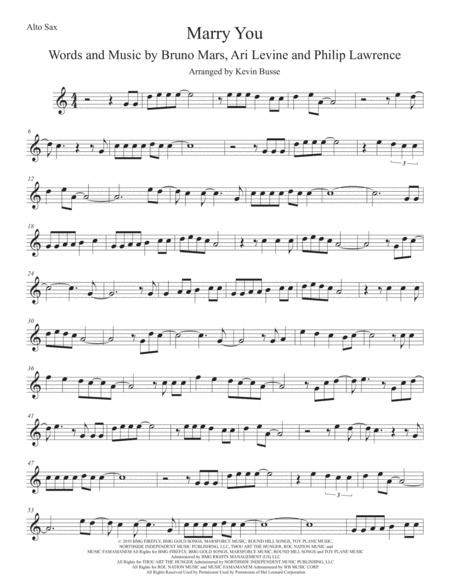 marry you easy key of c alto sax sheet music pdf download -  sheetmusicdbs.com  download sheet music and notes in pdf format