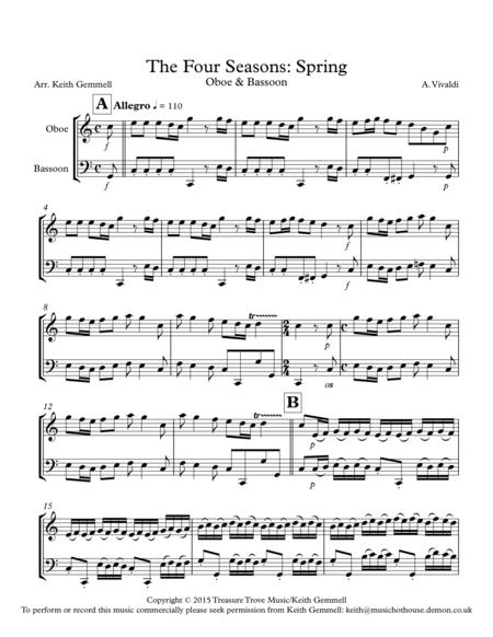 the four seasons spring oboe bassoon sheet music pdf download -  sheetmusicdbs.com  download sheet music and notes in pdf format