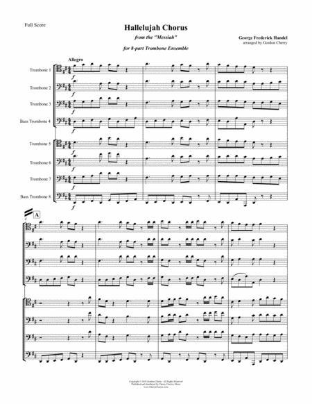 hallelujah chorus for 8 part trombone ensemble sheet music pdf download -  sheetmusicdbs.com  download sheet music and notes in pdf format
