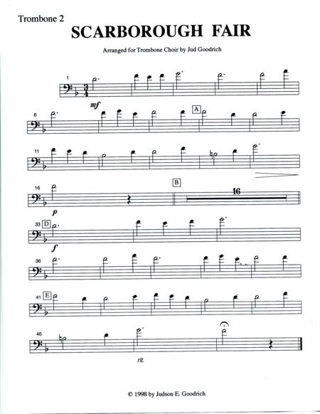 scarborough fair for trombone quintet sheet music pdf download -  sheetmusicdbs.com  download sheet music and notes in pdf format