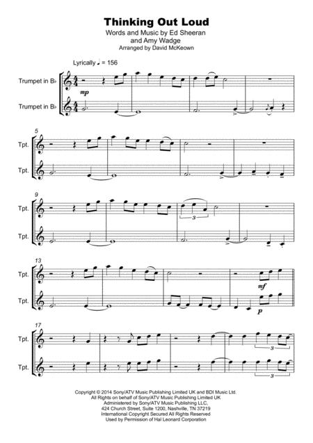 thinking out loud duet for two trumpets sheet music pdf download -  sheetmusicdbs.com  download sheet music and notes in pdf format