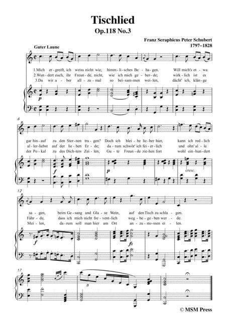 schubert tischlied op 118 no 3 in c major for voice piano sheet music pdf  download - sheetmusicdbs.com  download sheet music and notes in pdf format