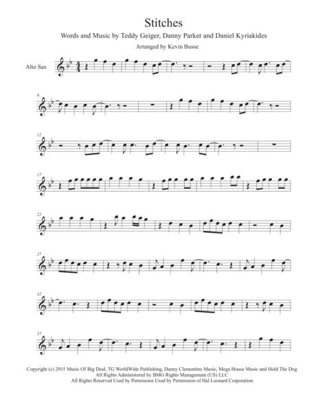stitches original key alto sax sheet music pdf download - sheetmusicdbs.com  download sheet music and notes in pdf format