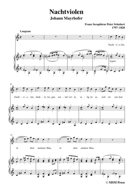 schubert nachtviolen in c major for voice and piano sheet music pdf  download - sheetmusicdbs.com  download sheet music and notes in pdf format