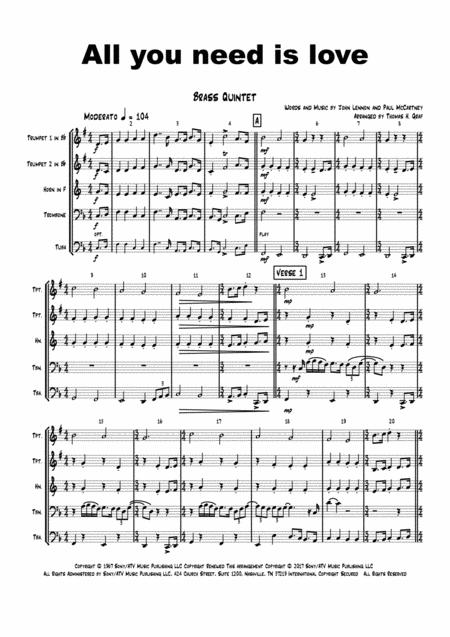 all you need is love f beatles brass quintet sheet music pdf download -  sheetmusicdbs.com  download sheet music and notes in pdf format