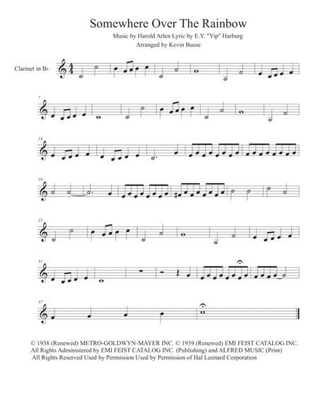somewhere over the rainbow easy key of c clarinet sheet music pdf download  - sheetmusicdbs.com  download sheet music and notes in pdf format