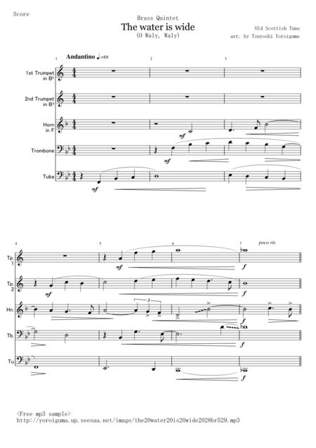 the water is wide o waly waly for brass quintet sheet music pdf download -  sheetmusicdbs.com  download sheet music and notes in pdf format