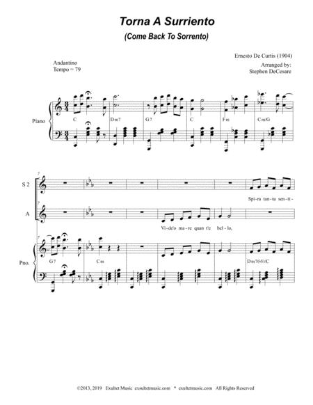 torna a surriento come back to sorrento for ssa sheet music pdf download -  sheetmusicdbs.com  download sheet music and notes in pdf format