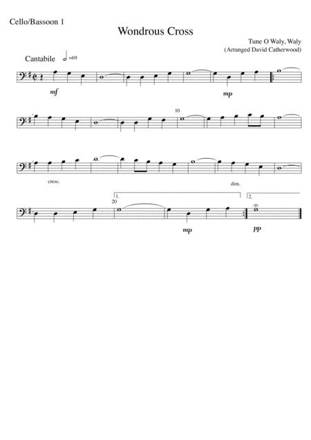cello trio wondrous cross tune o waly waly arranged by david catherwood  sheet music pdf download - sheetmusicdbs.com  download sheet music and notes in pdf format