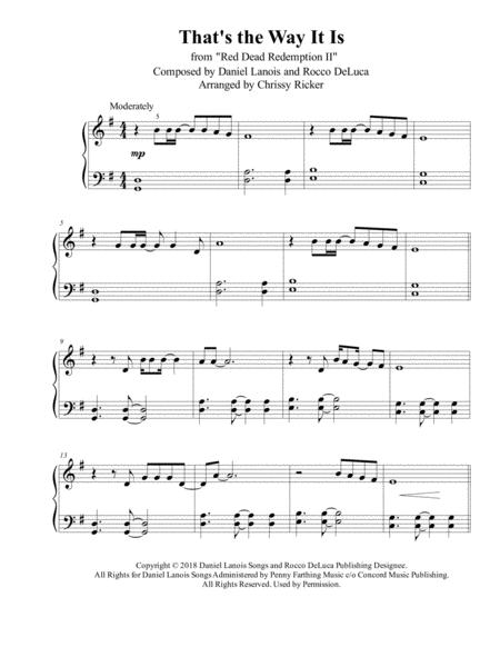 thats the way it is from red dead redemption ii easy piano sheet music pdf  download - sheetmusicdbs.com  download sheet music and notes in pdf format