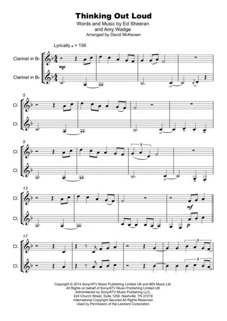 thinking out loud duet for two clarinets sheet music pdf download -  sheetmusicdbs.com  download sheet music and notes in pdf format