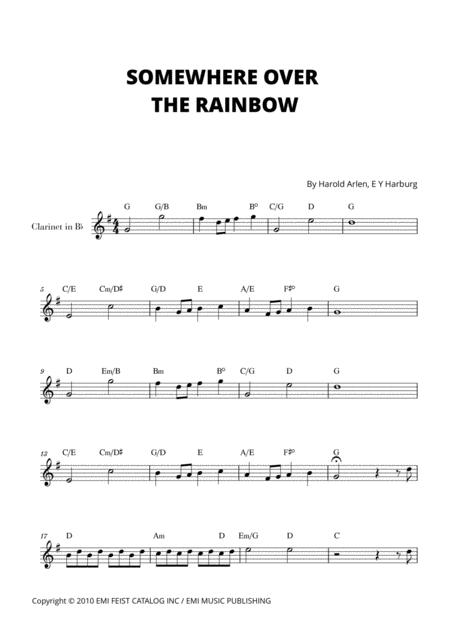 somewhere over the rainbow for clarinet in bb sheet music pdf download -  sheetmusicdbs.com  download sheet music and notes in pdf format