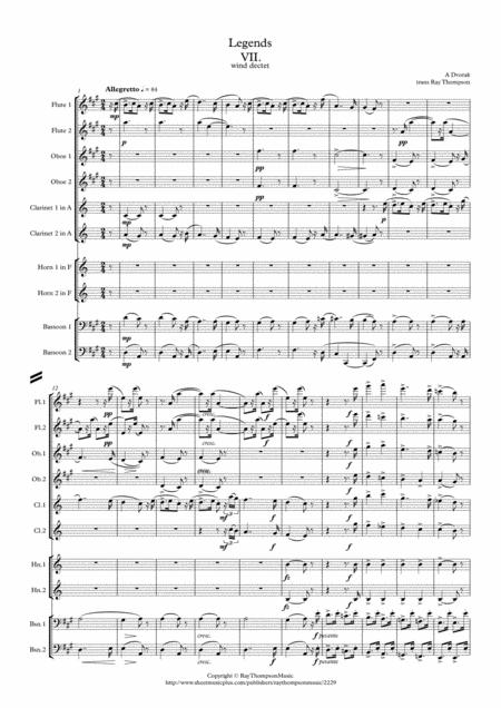 dvorak legends op 59 mvt 7 in a wind dectet sheet music pdf download -  sheetmusicdbs.com  download sheet music and notes in pdf format