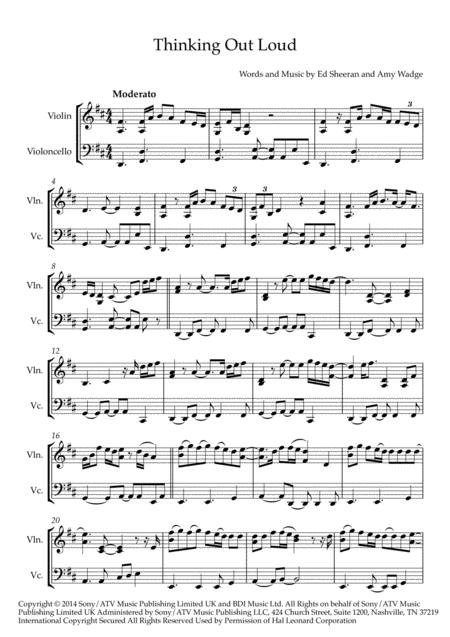ed sheeran thinking out loud violin cello duo sheet music pdf download -  sheetmusicdbs.com  download sheet music and notes in pdf format