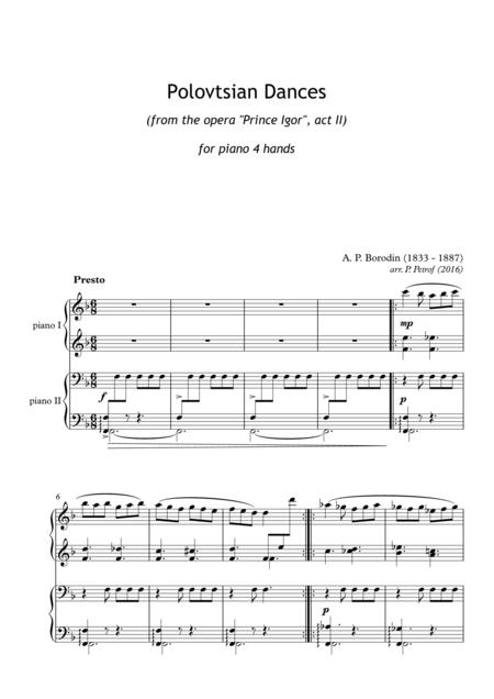 a borodin polovtsian dances for piano 4 hands sheet music pdf download -  sheetmusicdbs.com  download sheet music and notes in pdf format