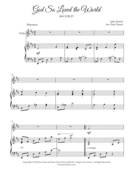 god so loved the world stainer intermediate violin piano and violin part sheet  music pdf download - sheetmusicdbs.com  download sheet music and notes in pdf format