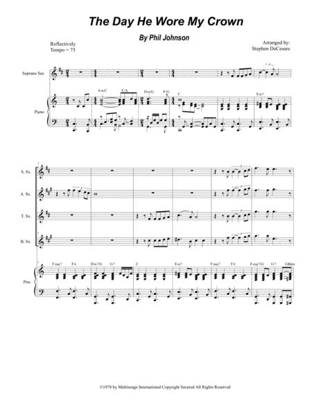 the day he wore my crown for saxophone quartet and piano sheet music pdf  download - sheetmusicdbs.com  download sheet music and notes in pdf format