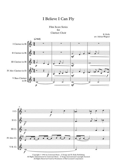 space jam i believe i can fly clarinet choir arr adrian wagner sheet music  pdf download - sheetmusicdbs.com  download sheet music and notes in pdf format