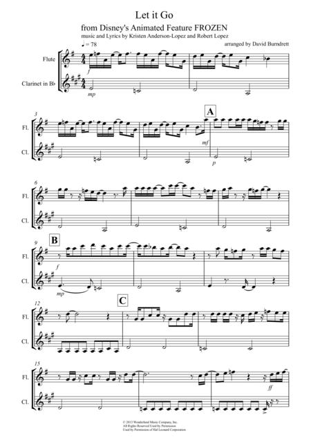 let it go from frozen for flute and clarinet duet sheet music pdf download  - sheetmusicdbs.com  download sheet music and notes in pdf format