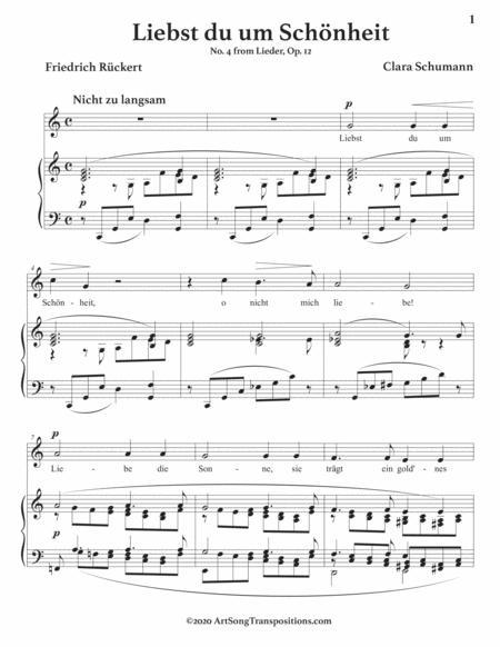 liebst du um schnheit op 12 no 4 c major sheet music pdf download -  sheetmusicdbs.com  download sheet music and notes in pdf format