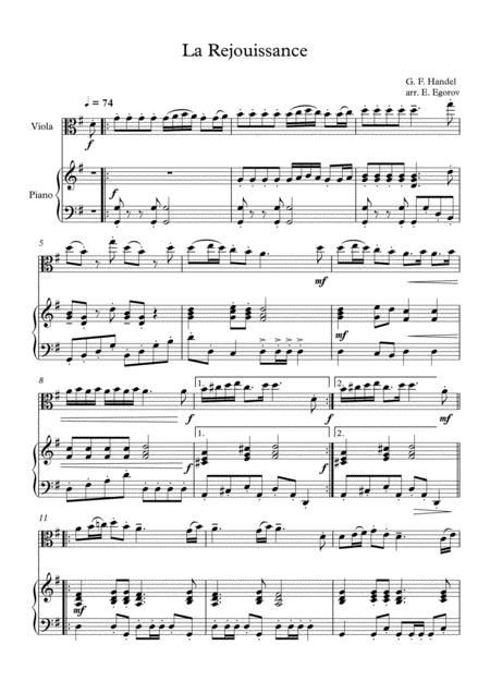 la rejouissance george frideric handel for viola piano sheet music pdf  download - sheetmusicdbs.com  download sheet music and notes in pdf format