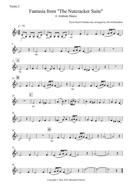 arabian dance fantasia from nutcracker for violin quartet sheet music pdf  download - sheetmusicdbs.com  download sheet music and notes in pdf format