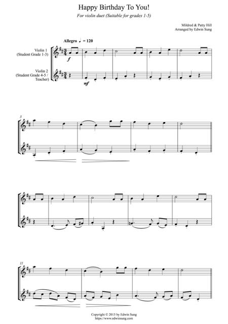 happy birthday to you for violin duet suitable for grades 1 5 sheet music  pdf download - sheetmusicdbs.com  download sheet music and notes in pdf format