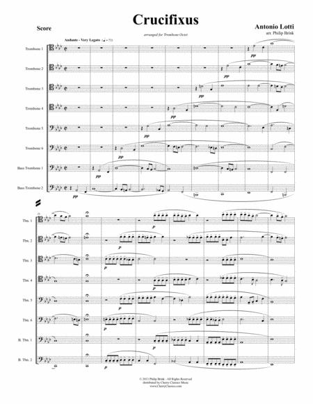 crucifixus for 8 part trombone ensemble sheet music pdf download -  sheetmusicdbs.com  download sheet music and notes in pdf format