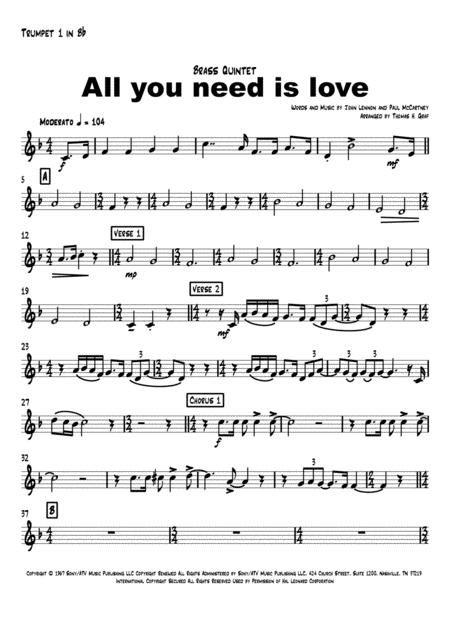 all you need is love beatles brass quintet sheet music pdf download -  sheetmusicdbs.com  download sheet music and notes in pdf format