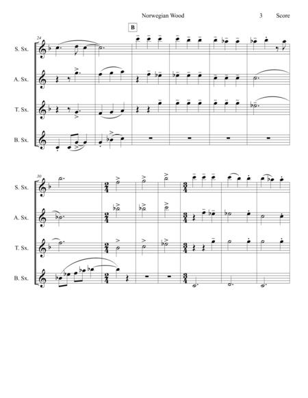 norwegian wood the beatles saxophone quartet sheet music pdf download -  sheetmusicdbs.com  download sheet music and notes in pdf format