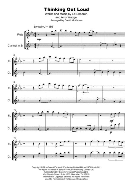 thinking out loud duet for flute and clarinet sheet music pdf download -  sheetmusicdbs.com  download sheet music and notes in pdf format