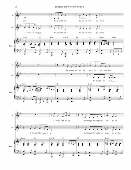 the day he wore my crown for 2 part choir sa sheet music pdf download -  sheetmusicdbs.com  download sheet music and notes in pdf format