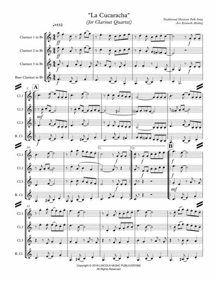 la cucaracha for clarinet quartet sheet music pdf download -  sheetmusicdbs.com  download sheet music and notes in pdf format