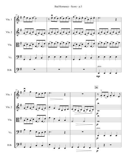 bad romance string quartet ensemble sheet music pdf download -  sheetmusicdbs.com  download sheet music and notes in pdf format